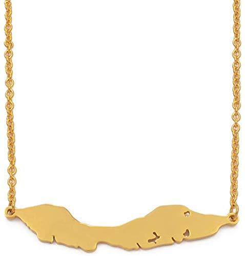 YZXYZH Collar Collares con Colgante De Mapa De Las Islas De Curazao De Tamaño Grande De 5 Cm, Mapas De Joyería De Acero Inoxidable/Color Dorado, Regalo De 50 Cm