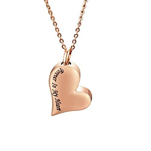 Epinki Collar con Colgante para Cenizas, Acero Inoxidable Collar Always In My Heart Corazón Oro Rosa