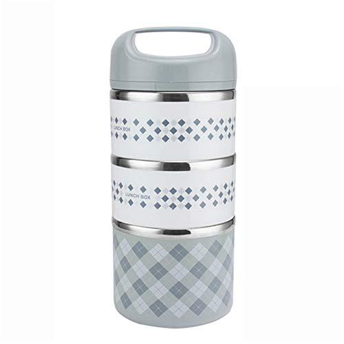 Caja De Almuerzo Infantil para Ni/ños Ni/ñas con Compartimentos Cubiertos Bento Fiambrera Cuadrada De Doble Capa con Hebilla De Dos Botones De Acero Inoxidable 304