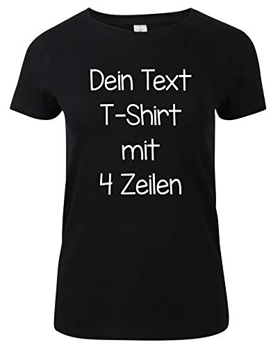Damen T-Shirt Rundhals Bedrucken mit dem Amazon Tshirt Designer. T-Shirt selber gestalten. T-Shirt Druck. T-Shirt mit Wunschtext. T Shirts sind Ökotex-100 Zertifiziert. Schwarz L