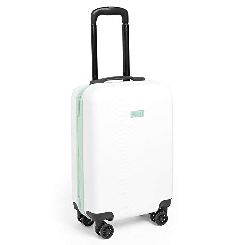 Beautify Lightweight Travel Carry on Hand Cabin Luggage Hard Shell Cabin Suitcase Trolley Bag 55cm- Approved for Easyjet Ryanair Flybe, Mint Green & White Mock Croc Pattern