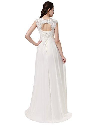Erosebridal Ärmellos Spitze Chiffon Hochzeitskleid Brautkleid Elfenbein DE36 - 8