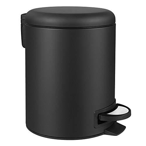 SONGMICS Mülleimer, Abfalleimer, 5 Liter, mit Pedal, Inneneimer aus Kunststoff, Softclose, geruchsdicht, schwarz, 26,5 x 20 x 27 cm