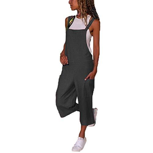 Langer Jumpsuit Damen Eleganter Sommer Overall Herbst Jogging Latzhosen Romper Playsuit Hosen Bequeme Qmber,Lockere, lässige Umhängetasche für Overall/Grau,XL