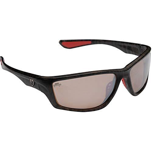 Fox Rage Camo Eyewear - Polarisationsbrille für Spinnangler & Fliegenfischer, Angelbrille, Sonnenbrille für Angler, Polbrille, Modell:geschlosssener Rahmen / braune. verspiegelte Gläser