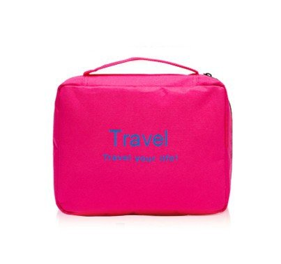 CHUANMEI Voyages Hommes Femmes Nouveau Sac de beauté Sac de Lavage Stockage Package Tourisme Solid Color, Rose Red