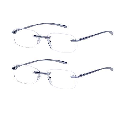 2-Pack Sin Montura Gafas de Lectura +2.5 Hombres y Mujeres Patillas Metálica Lente Transparente con Funda, 2.5(60-64 años)