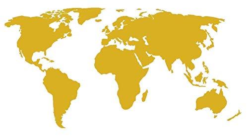 Adesivo Mappa del Mondo - Sticker per Personalizzare LA Tua Auto - Moto - Camper - Muri Pareti e Mobili - World Map Decal - Decorazioni ADESIVE in Vinile di Alta QUALITA' - Oro 30 X 20 CM