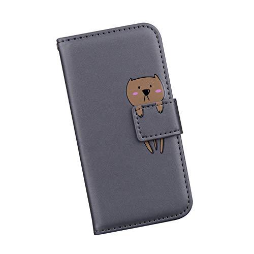 Ysimee Handyhülle kompatibel mit Xiaomi Redmi Note 8 Pro, Cartoon-Muster Case Schutzhülle Klappbar Stoßfest Kratzfest Hülle Flip Handy Tache mit Kartenslots und Standfunktion, Grauer Bär