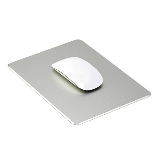 Aenfor Aluminum Gaming Mouse pad [Ultra Thin][Non-Slip Base][Resistant to Dirt] Mouse pad with Micro Sand Blasting Aluminium Surface for Fast and Accurate Control, Silver