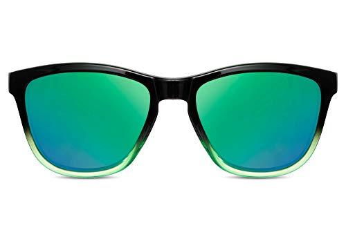 Cheapass Gafas de Sol Estilosas Gafas Deportivas Montura Negra y Verde con Cristales Verdes Espejados Protección UV400 Hombre Mujer