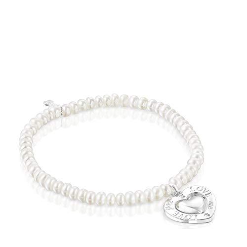 TOUS Pulsera San Valentín perlas y corazón giratorio