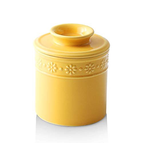 KOOV Ceramic Butter Keeper Crock, Butter Dish, Big Capacity, Daisy Series (Yellow)