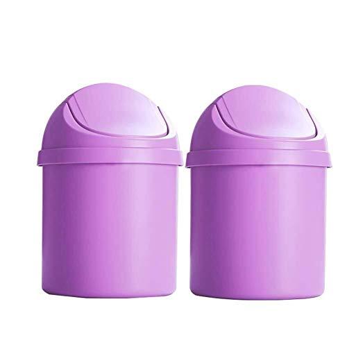 NYDZDM - Basura de plástico para coche con tapa giratoria de oficina y residuos automáticos, adecuada para un conjunto de 2 dormitorios, dormitorios en casa (color: púrpura)