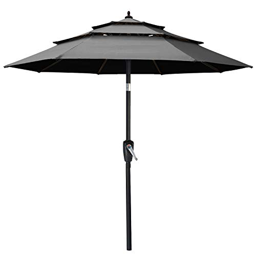 10FT 3 Tiers Market Umbrella Patio Umbrella Outdoor Table Umbrella with Ventilation and Push Button Tilt for Garden, Deck,...