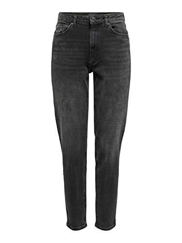 ONLY Damen Mom Jeans Hose - Veneda High-Waist Jeans Tapered Boyfriend in schwarz, Farbe:Schwarz, Damenjeans:XL - Länge 30