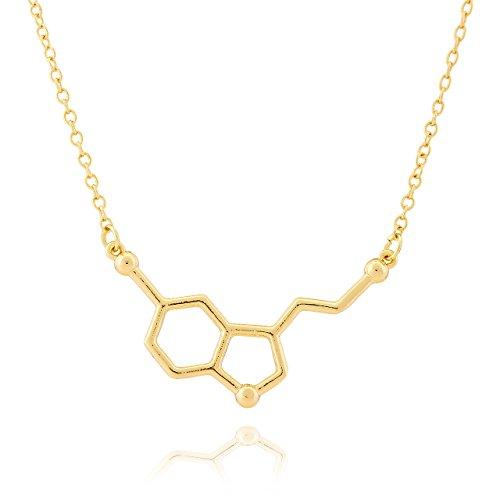 Collar Selia Molécula de la Felicidad/Colgante Minimalista de Serotonina/Cadena Look Amor de Acero Inoxidable