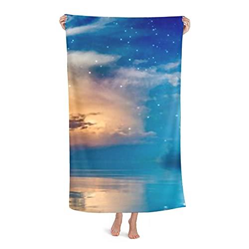 Toallas de playa de lujo, toalla de poliéster para nadar en la piscina Ramadan Kareem de fondo con estrellas en forma de media luna que brillan intensamente para tomar el sol junto a la piscina, baño