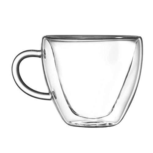 Phoetya Taza de cristal con forma de corazón, taza de té y...