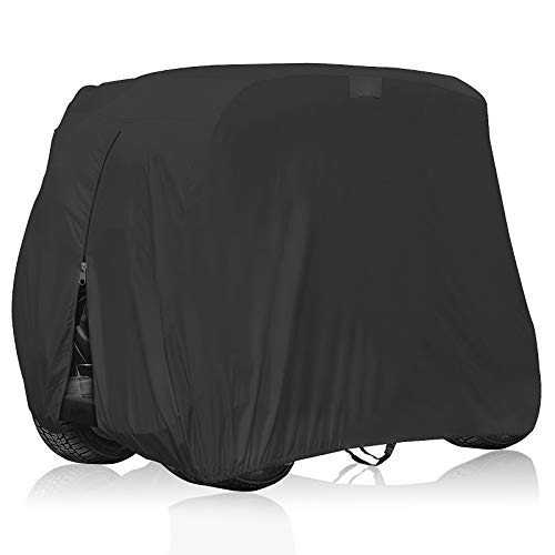 OVCRNIBI 600D Waterproof Golf Cart Cover, Universal 4 Passenger Seat Golf Cart Cover for EZ GO,Club Car Precedent,Yamaha Golf Carts,Movaland Custom Cart Cover Durable Outdoor Protection Roof