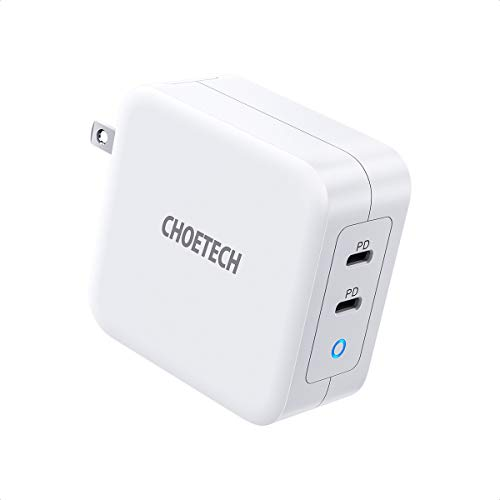 USB C Charger, CHOETECH 100W 2-Port Type C Wall Charger PD 3.0 GaN Tech Foldable PD Charger Adapter Compatible with MacBook Pro/Air, iPad Pro, iPhone 11 Pro Max/SE,Dell XPS, Nintendo, Galaxy and More