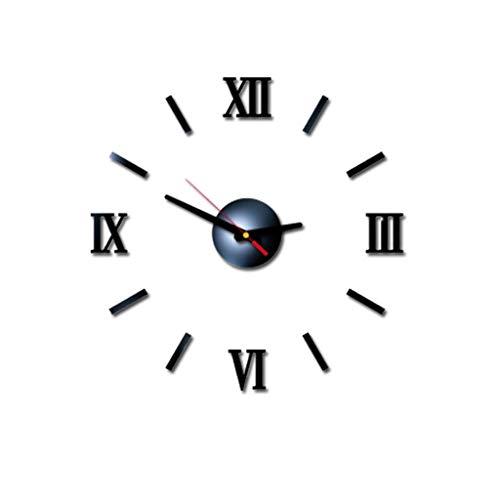 beautyjourney Reloj de Pared 3D DIY con Números Romanos Reloj de Pared de Acrílico Reloj de Pared con Espejo Tatuajes de Pared para la Decoración de la Cocina del Hogar