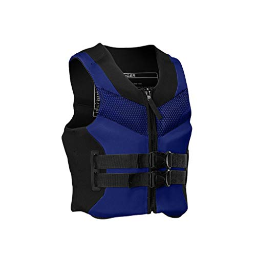 Rettungsweste für Kinder und Erwachsene, Schwimmweste, Erwachsene & Jugendliche 150-N Auftriebsweste für SUP Wasserski Paddeln Wakeboard Kajak Schnorchel-Weste (Color : Blue, Size : XXL)