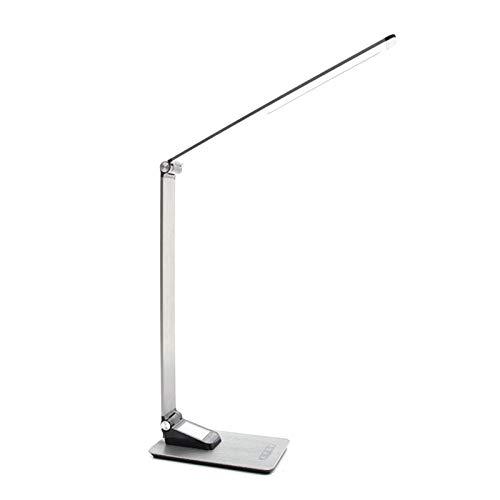Lámpara moderna de escritorio de metal, luz de lectura regulable de 7W LED, con reloj de alarma y termómetro de calendario perpetuo y termómetro, lámpara de mesa recargable USB de control táctil, para