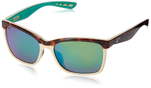 Costa Del Mar Women's Anaa Polarized Rectangular Sunglasses, Retro Tortoise/Cream/Mint/Green Mirrored Polarized-580P, 55 mm