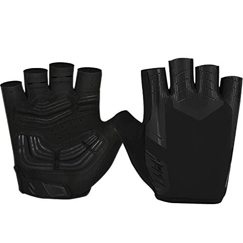 Cevapro Fahrradhandschuhe Herren Halbfinger Polsterung Stoßdämpfung Fitness Handschuhe Damen Fingerlos rutschfeste Mountainbike Handschuhe ideal für Radfahren MTB Klettern (M, Schwarz)