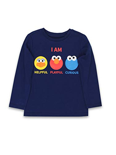 Isaac Mizrahi Loves Sesame Street Elmo Toddler Baby Long Sleeve T-Shirt Tee (18 Months, Navy)