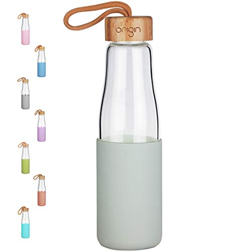 Origin - Best BPA-Free Glass Water Bottle with Protective Silicone Sleeve and Bamboo Lid - Dishwasher Safe (Sage, 16 oz)
