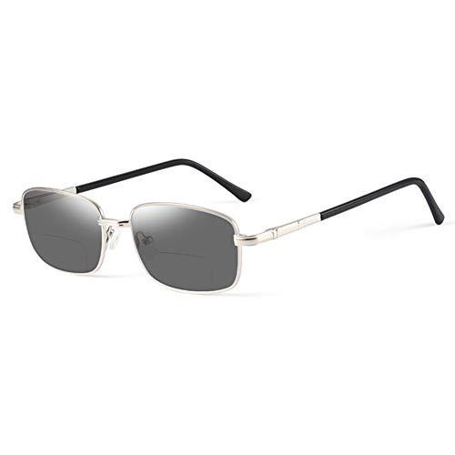 HQMGLASSES Gafas Lectura al Aire Libre luz Anti-Azul del Zoom Hombres, Gafas de Sol de Lente de Resina HD de múltiples focos progresistas, Gafas de Sol de Lentes de Resina de Alta Resina,Plata,+2.75