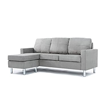 Divano Roma Furniture Modern Microfiber Sectional Sofa - Small Space Configurable (Grey)