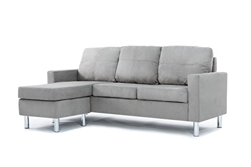 Casa Andrea Milano LLC Modern Sectional Sofa - Reversible Chaise Lounge Perfect for Small Space Dorm or Apartment, Grey Microfiber