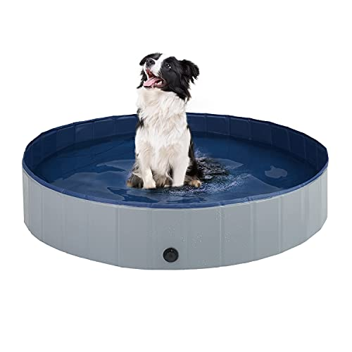 Eterish Foldable Dog Pet Bath Pool Bathing Tub Kiddie Pool for Dog Cats and Kids Collapsible 47 inches D