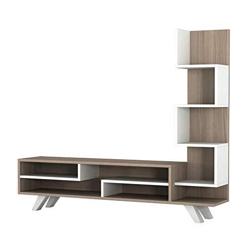 Alphamoebel 1698 TV Board Lowboard Fernsehtisch Fernsehschrank Sideboard, Fernseh Schrank Tisch für Wohnzimmer, Weiß Cordoba,sabel, 149,5 x 29,5 x 120 cm