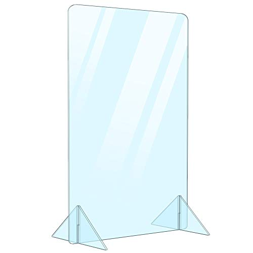Portable Free Standing Acrylic Divider Plexiglass Desk Shield Barrier Sneeze Guard (No Cut Out) for Office Desk, Countertop, Reception Cashier Table Protection from Droplets (Nocut 16'Wx24'H)