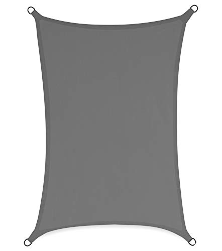 sunnypillow Toldo con cuerdas de fijación 100% HDPE | Protección contra el viento | Protección UV | Transpirable | Protección solar para jardín terraza y balcón rectangular 4 x 5 m gris