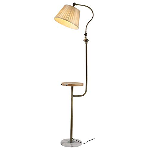 Lámpara de pie de la vendimia, de madera con bandeja de piso Luz, Teléfono inalámbrico de carga y la interfaz USB, ajustable tono beige, cobre antiguo de pie Lámpara 1,59 M para sala de estar