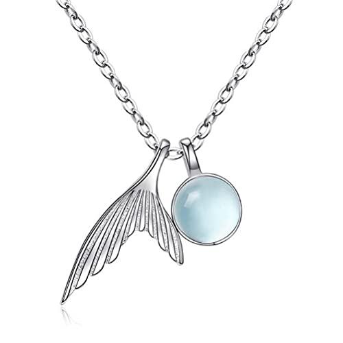 GYUFU Collar de Regalo para Mujer S925 Collar de Cola de Pez de Plata Esterlina, Cadena de Clavícula de Cristal Azul Sintético, Hembraoro, Plata 925