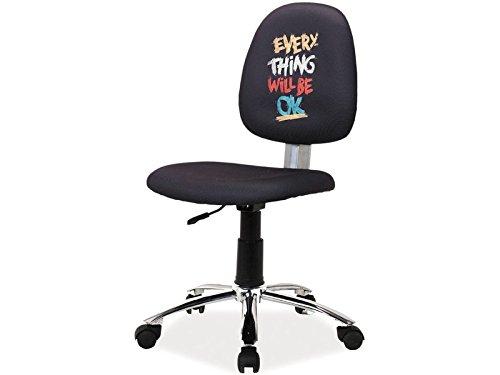 Jadella Kinderstuhl \'RILO 3\' Drehstuhl Schreibtischstuhl für Kinder Stuhl Stoff Schwarz Spruch Motivation
