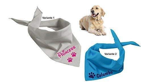 Hundehalstuch mit Namen, in vielen verschiedenen Farb-Varianten bedruckt, Dreieckstuch Hund - Halstuch