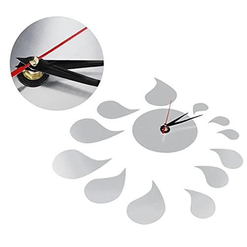 Hoseten Etiqueta de la Pared del Reloj, Etiqueta engomada de la Pared del Reloj Mudo Plateado sin número para Las Etiquetas engomadas del Fondo del hogar
