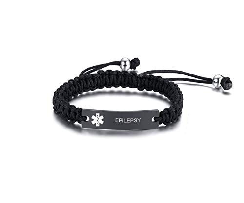 XUANPAI Epilepsy Handmade Braided Rope Adjustable ID Identification Alert Medical Bracelet for Men Women,1 Pcs