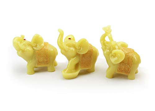 We pay your sales tax Feng Shui Set of 3 Elephant Statues Wealth Lucky Figurines Home Decor Housewarming Congratulatory Gift (Yellow Jade)