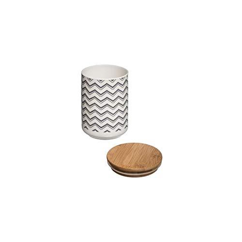 AC-Déco Bocal scandinave avec Couvercle - D 10 x H 14 cm - Céramique - Gris