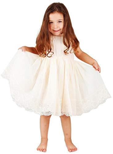 Bow Dream Mädchenkleid aus Vintage Spitze Elfenbein Creme 5 Jahre
