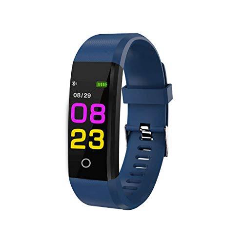 LQRLY Rastreador de actividad física, reloj inteligente con monitor de ritmo cardíaco, contador de pasos, monitor de sueño, reloj inteligente impermeable para hombres, mujeres y niños, azul