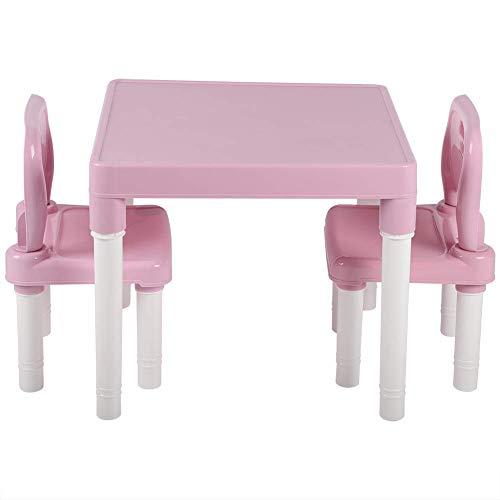 Childs Studing Setting Set, Niños para niños Mesa de plástico y silla Establecer escritorio estudiando escritorio para el hogar Kindergarten, Niños Aprendiendo Sillas de escritorio - Rosa LOLDF1